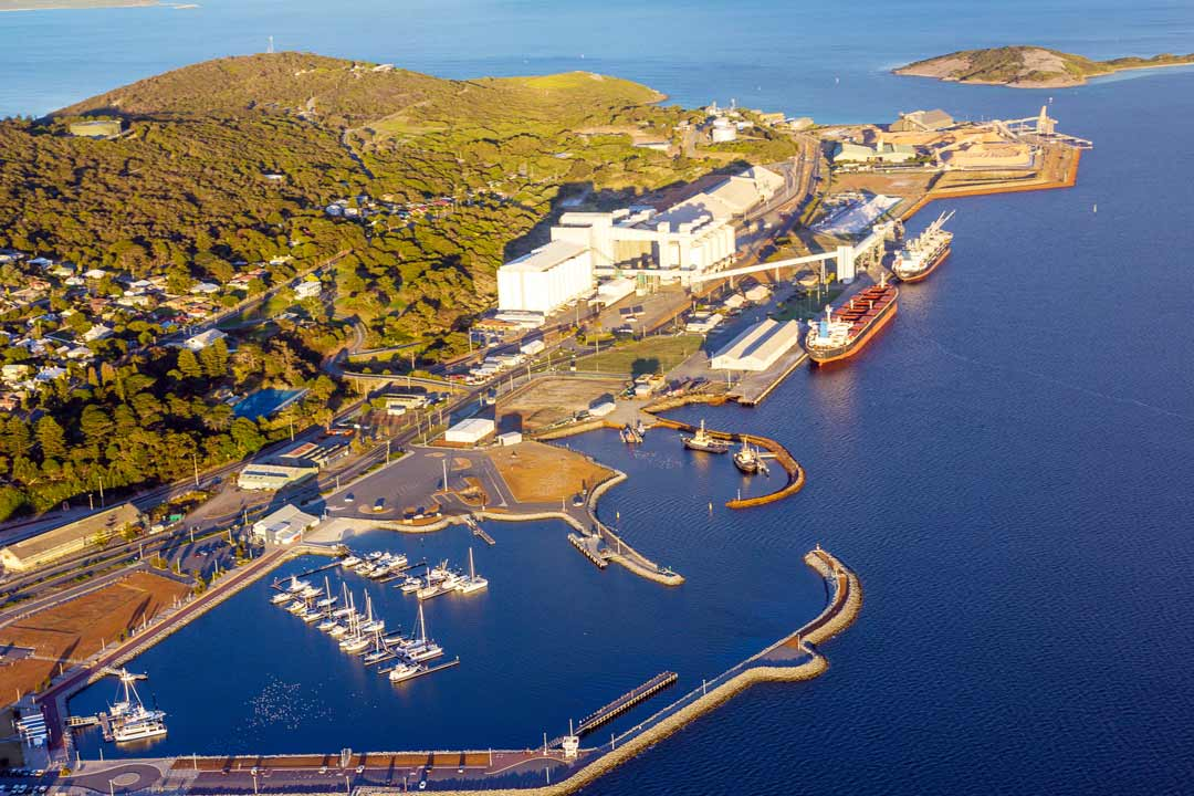 Aerial shot of the water in Albany WA